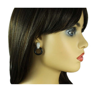 Model with Silver with Black Circle Doorknocker Pierced Earring - Lilylin Designs