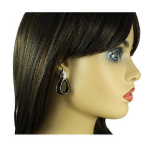 Model with Black Enamel and Clear Crystals Open Teardrops Earring - Lilylin Designs