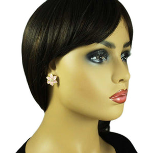 Model with Creamy Pink Enamel with Clear Crystals Flower Pierced or Clip Earring - Lilylin Designs