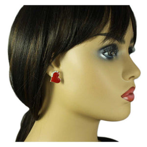 Model with Classic Red Enamel and Crystal Heart Pierced or Clip Earring - Lilylin Designs
