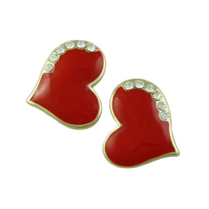 Classic Red Enamel and Crystal Heart Pierced or Clip Earring - Lilylin Designs