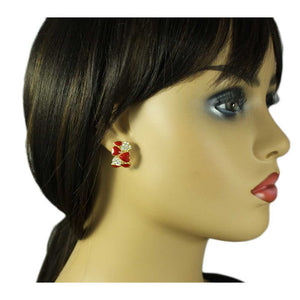 Model with Red Enamel and Crystal Hearts Semi Hoop Pierced or Clip Earring - Lilylin Designs