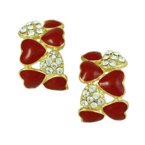 Red Enamel and Crystal Hearts Semi Hoop Pierced or Clip Earring - Lilylin Designs