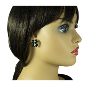 Model with Black Glossy Enamel Flower with Crystals Pierced or Clip Earring - Lilylin Designs