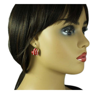 Model with Red Enamel with Silver and Crystal Stripes Heart Pierced Earring - Lilylin Designs
