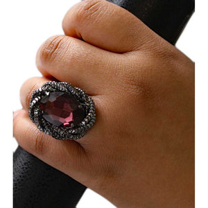 Model with Large Garnet Colored Oval Acrylic Stone Adjustable Ring - Lilylin Designs