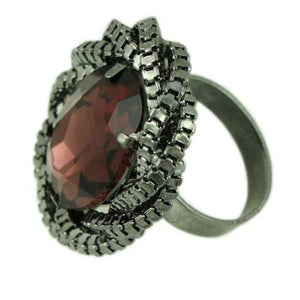Large Garnet Colored Oval Acrylic Stone Adjustable Ring-Side - Lilylin Designs