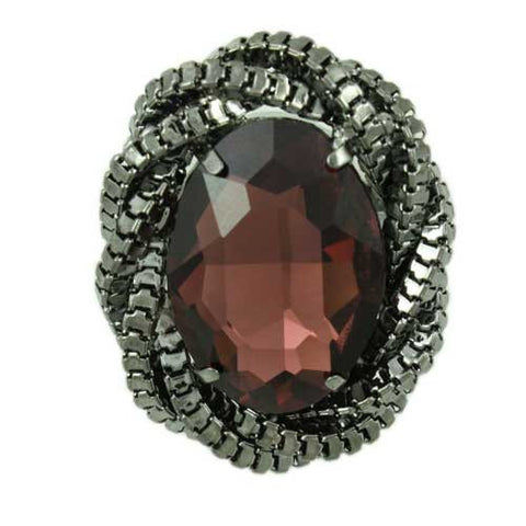 RF304-Adjustable Ring with Large Oval Garnet