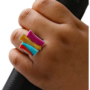 Model with Colorful Enamel Bars Adjustable Ring - Lilylin Designs