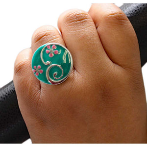 Model with Teal with Pink Enamel Flowers Adjustable Ring - Lilylin Designs