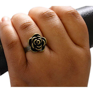 Model with Brass Rose with Antique Finish Adjustable Ring - Lilylin Designs
