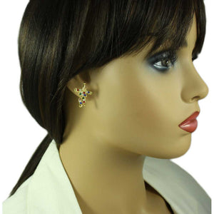 Model with Colorful Crystal Clown with Swinging Legs Pierced Earring - Lilylin Designs