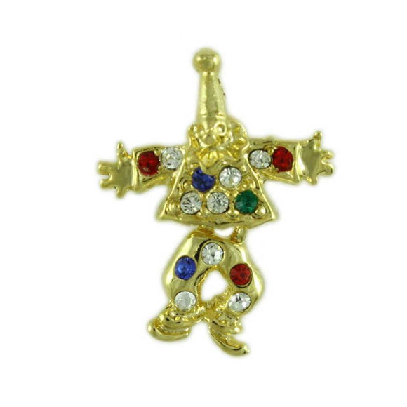 Colorful Crystal Clown with Swinging Legs Tac Pin - Lilylin Designs