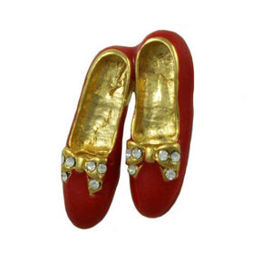 Red Enamel Pair of Tap Shoes with Crystal Bow Brooch Pin - Lilylin Designs