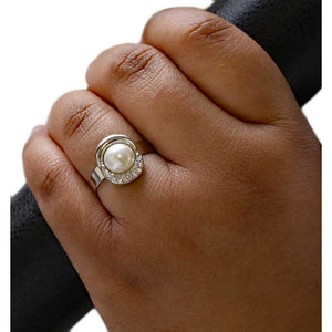 Model with Round Faux White Pearl with Crystals Adjustable Ring - Lilylin Designs