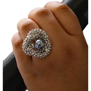 Model with Silver Love Knot with Gray Pearl Adjustable Ring - Lilylin Designs