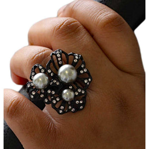 Black Enamel Flower with Gray Pearls Adjustable Ring - RP309