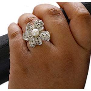 Model with Crystal Flower with White Faux Pearl Adjustable Ring - Lilylin Designs