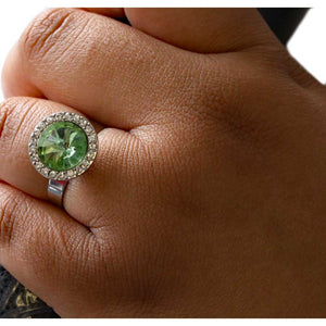 Model with Round Light Green Stone with Clear Crystals Adjustable Ring - Lilylin Designs
