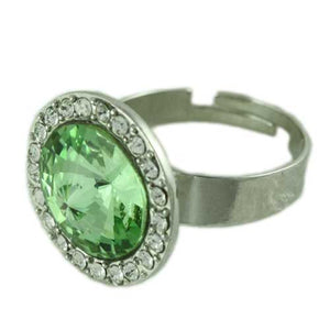 Round Light Green Stone with Clear Crystals Adjustable Ring-Side - Lilylin Designs