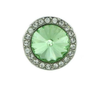 Round Light Green Stone with Clear Crystals Adjustable Ring - Lilylin Designs