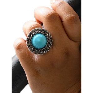 Model with Round Turquoise Colored Stone with Crystals Adjustable Ring - Lilylin Designs
