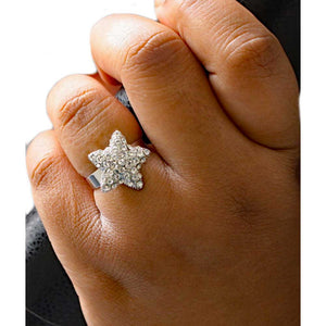 Model with Silver-tone with Clear Pave Crystals Star Adjustable Ring - Lilylin Designs