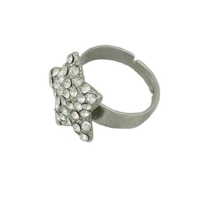 Silver-tone with Clear Pave Crystals Star Adjustable Ring-Side - Lilylin Designs