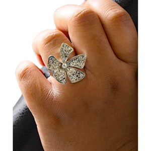 Model with Silver-tone with Clear Crystals Bow Adjustable Ring - Lilylin Designs