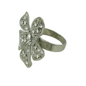 Silver-tone with Clear Crystals Bow Adjustable Ring-Side - Lilylin Designs