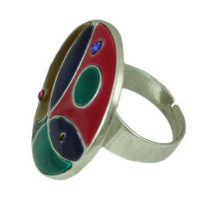 Round Multi Color Enamel and Crystal Adjustable Ring - RS336