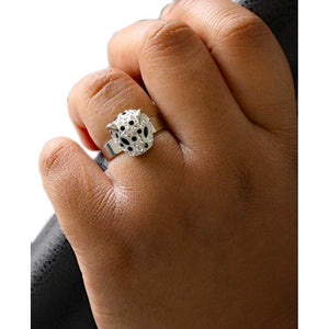 Model with White Enamel with Black Spots Cheetah Head Adjustable Ring - Lilylin Designs