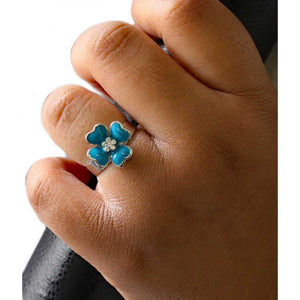 Model with Turquoise Blue Enamel and Crystal Flower Adjustable Ring - Lilylin Designs