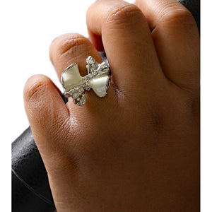Model with White Enamel and Crystal Bow Adjustable Ring - Lilylin Designs
