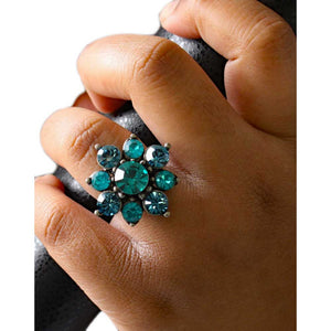 Blue Zircon Crystal Flower Adjustable Ring - RS356