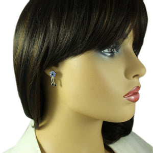 Model with Blue and Dark Blue Crystal Daisy with Dangling Stem Pierced Earring - Lilylin Designs