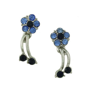 Blue and Dark Blue Crystal Daisy with Dangling Stem Pierced Earring  - Lilylin Designs