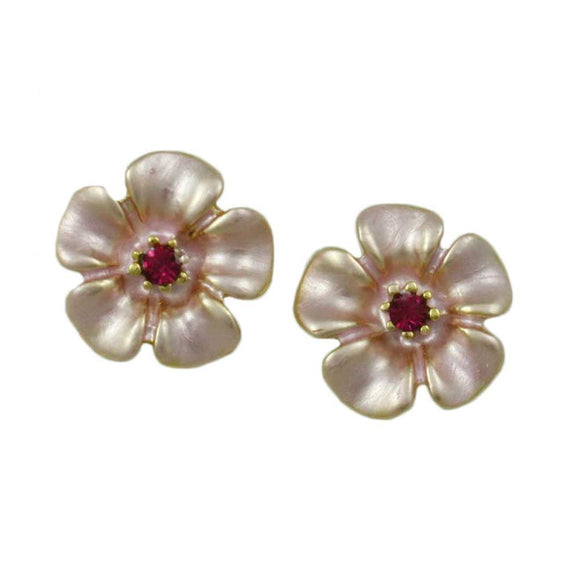 Small Pink Enamel Daisy with Pink Crystal Center Pierced Earring - Lilylin Designs