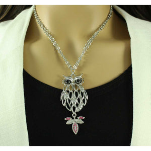 Model with Filigree Owl with Black Stone Eyes and Pink Crystal Tail Necklace - Lilylin Designs