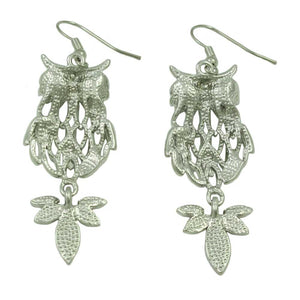 Filigree Owl with Black Eyes and Pink Crystal Tail Dangling Earring (back) - Lilylin Designs
