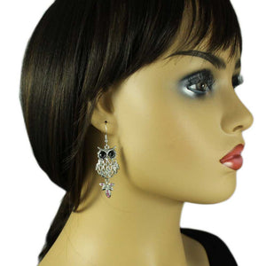 Model with Filigree Owl with Black Eyes and Pink Crystal Tail Dangling Earring - Lilylin Designs