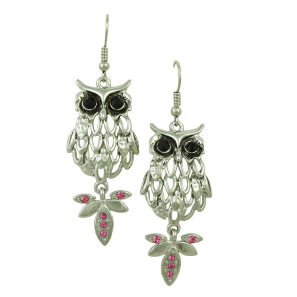 Filigree Owl with Black Eyes and Pink Crystal Tail Dangling Earring - Lilylin Designs