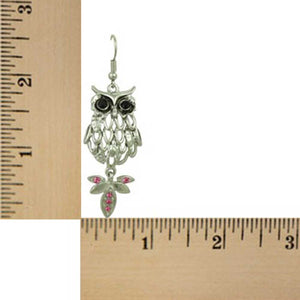 Filigree Owl with Black Eyes and Pink Crystal Tail Dangling Earring (sized) - Lilylin Designs