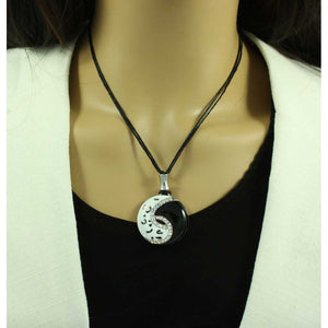 Black and White Enamel and Crystal Yin Yang Necklace - RSN276