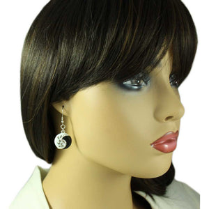 Model with Black and White Enamel and Crystal Yin Yang Pierced Earring - Lilylin Designs