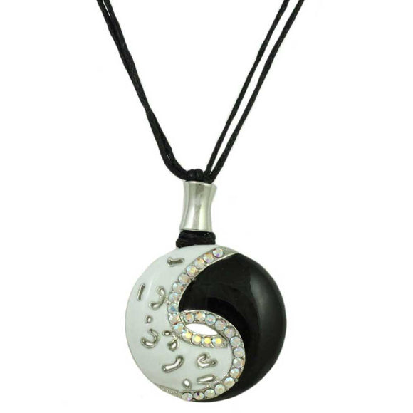Black and White Yin Yang Necklace - Lilylin Designs