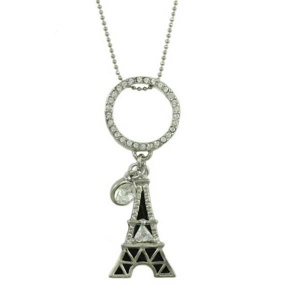 Black and Silver Crystal Eiffel Tower Necklace - Lilylin Designs