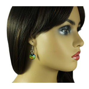 Model with Iridescent Dangling Octagon Pierced Earring - Lilylin Designs