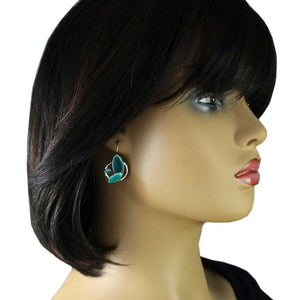 Model with Turquoise Enamel Ovals Crystal Pierced Earring - Lilylin Designs