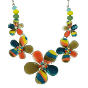 Colorful Enamel Rainbow Flower Necklace - Lilylin Designs